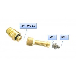 """EURO CONECTOR - GLP - Rosca Macho ½"""" (21.8mm) con extensiones M16 - M10"""